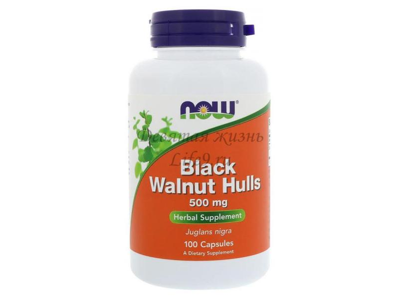 Черный орех (Black Walnut Hulls), 500 мг, 100 капсул (Now Foods)