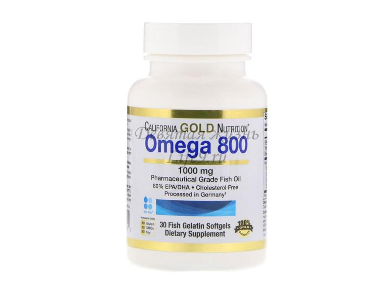 Рыбий жир Omega-800, 1000 мг, 30 капсул (California Gold Nutrition)